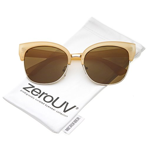 zeroUV - Women's Oversize Half Frame Cat Eye Sunglasses With Flat Lens And Horn Rimmed Detail 57mm (Peach Gold / - Cat Eye Subtle Sunglasses
