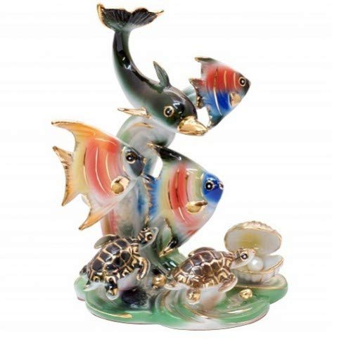 Feng Shui Ocean with Dolphin and Fishes - Hand Crafted and Decorated Fine Chinese Porcelain, Figurine 209501 (Figurines Dolphin Porcelain)
