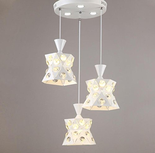 GL&G Iron Light Crystal Chandelier Pendent Light for Hallway,Bedroom,Kitchen,Kids Room,LED Bulb Included, Warm White Light,3 head,1924cm by GAOLIGUO