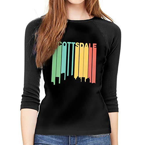 - Womens 3/4 Sleeve Tee Shirts Retro 1970's Style Scottsdale Raglan Baseball T-Shirt Top Black