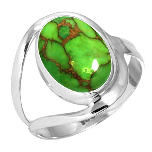 (925 Sterling Silver Women Jewelry Copper Green Turquoise Ring Size 11)