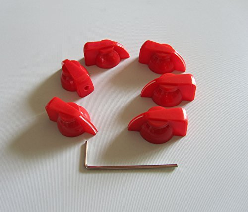 - Brass Insert Guitar Chicken Head Knob AMP Effect Pointer Knob, 6 Pcs Red