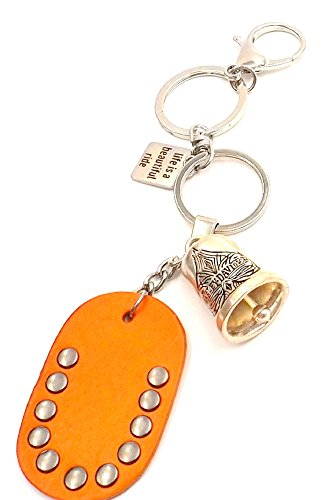 harley-spade-protection-bell-keychain-ring-silvertone-car-bike-accessory-leather-pad-life-is-a-beaut