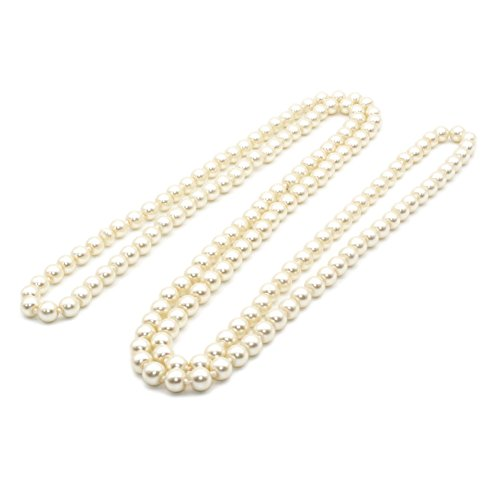 Be-JSEA 57'' Length 8mm Simulated Glass Pearl Long Necklace Multi Layer Statement Necklace - Type Of Different Glasses