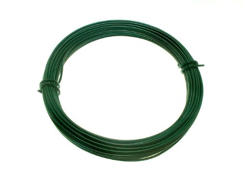 GREEN PLASTIC COATED GARDEN FENCE WIRE 2 MM x 1.4 MM x 15 METRES ( 1 roll )