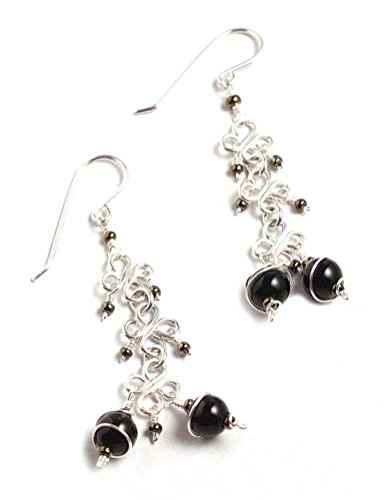 (NOVICA Onyx .925 Sterling Silver Chandelier Earrings, Lucky Clover')