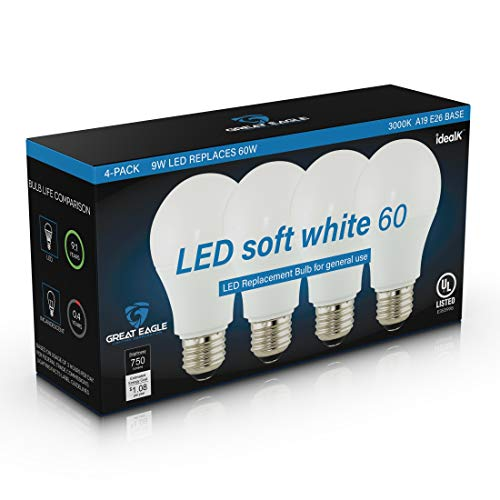 Great Eagle A19 LED Light Bulb, 9W (60W Equivalent), UL Listed, 3000K (Soft White), 750 Lumens, Non-dimmable, Standard Replacement (4 Pack)