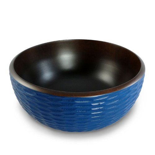Enrico 3100MH3180  Mango Wood Honeycomb Salad Bowl, Deep Blue/Dark Brown - Deep Blue Mango Wood