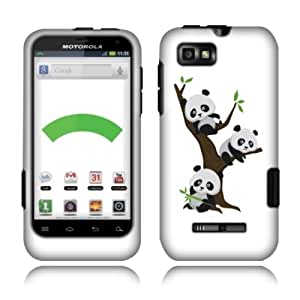 Fincibo (TM) Motorola Defy XT Protector Cover Case Snap On Hard Plastic - Cute Pandas On The Tree, Front And Back