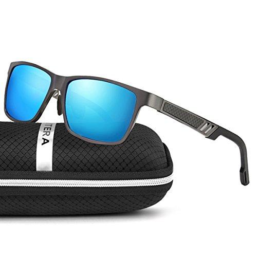 ELITERA Aluminum Magnesium Polarized Men Sunglasses Sports Driving Goggle Eyewear E6560 (Gray&Blue, - Width Sunglasses
