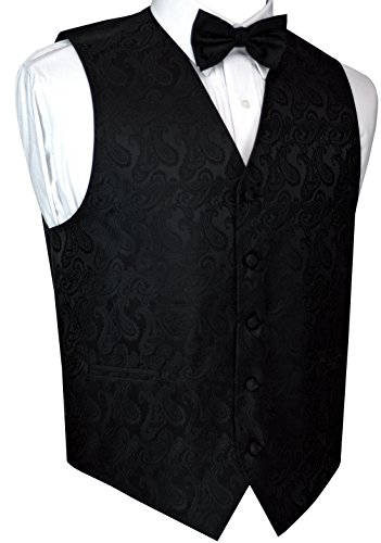 - Men's Formal, Prom, Wedding, Tuxedo Vest, Bow-Tie & Hankie Set in Black Paisley - S