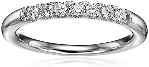 14k White Gold Diamond 7-Stone Shared Prong Anniversary Ring (1/4cttw, H-I Color, I1-I2 Clarity), Size 7