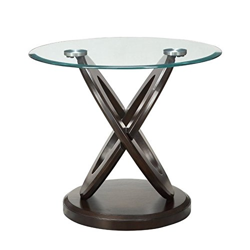 Coaster Glass Top Round End Table in Espresso