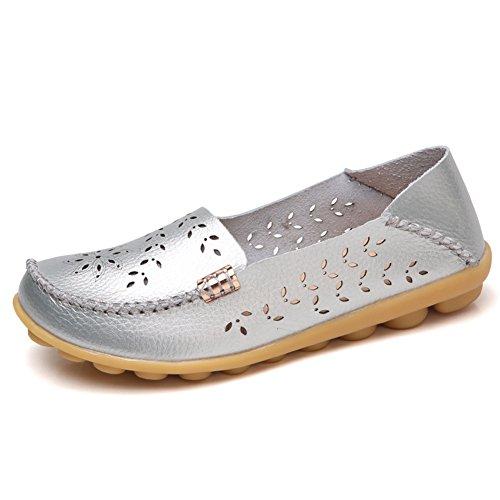 Lingtom Mocassins Casual En Cuir Pour Femme Flat Flat Slip-on Chaussures Argent
