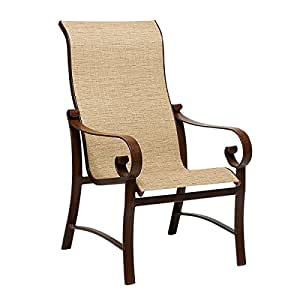 Woodard  Belden Sling High-Back Dining Arm Chair, Smooth Black, Canvas Wheat