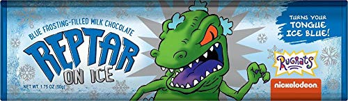 (1 Reptar Bar - Nickelodeon Rugrats - Blue Frosting Filled Milk Chocolate Bar, Turns Your Tongue Blue - 1.75 Ounce)
