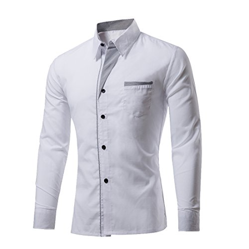 Generic Mens Casual Classic Solid Slim Fit Long Sleeve Button Front Shirts