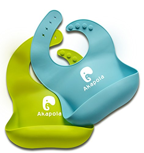 PRACTICAL BIBS - Comfortable, Soft, Safe, Anti-microbial, BPA free, 100% Food-grade silicone baby bib.Blue-Green (Foods Green)