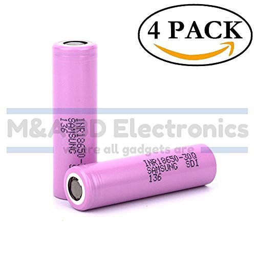 Samsung INR18650-30Q High Drain 3000mAh 3.7V 15A Rechargeable Flat Top Battery, (4 Pcs)