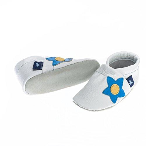 pantau Leder Krabbelschuhe Lederpuschen Babyschuhe Lauflernschuhe, Seitliche Blume, 100% Leder WEISS_HELLBLAU_GELB