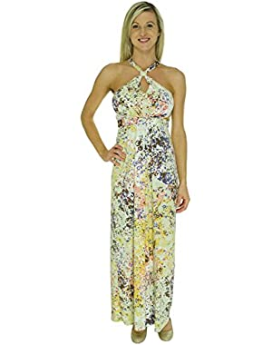 Guess Abstract Printed Halter Empire Women's Maxi Dress