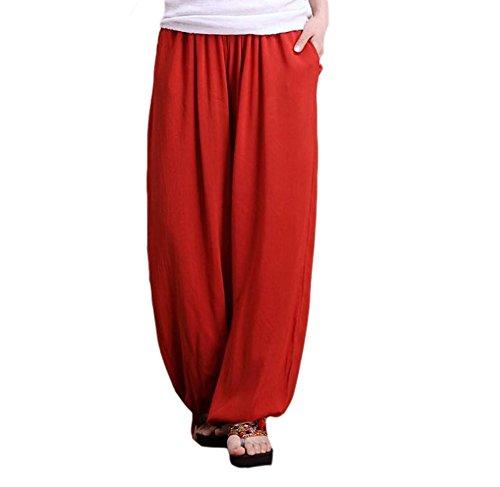 Attillati Rosso Da Di Etnico Danza Pantaloni Cotone Stile Yoga Donna z8wxqH