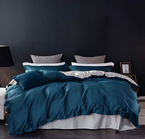 SLEEPBELLA Duvet Cover Set, 1000 Thread Count Egyptian Cotton Comforter Cover Reversible Sateen (Peacock Blue&Cream-Colored, King) (Peacock Blue)