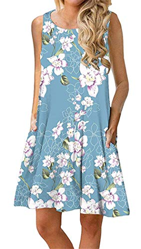 Summer Beach Dresses for Women Tshirt Sundresses Boho Casual Sleeveless Floral Shift Pockets Swing Loose Damask Blue Flower Medium
