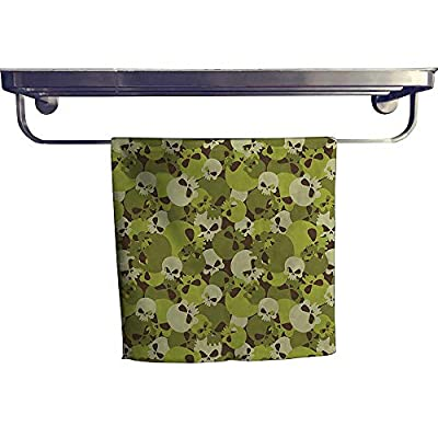 Cotton Beach Towel?Composition of Skulls Scary Head Skeletons Soldiers Grunge Green Light Green Beige ?Absorbent, Machine Washable, Towel