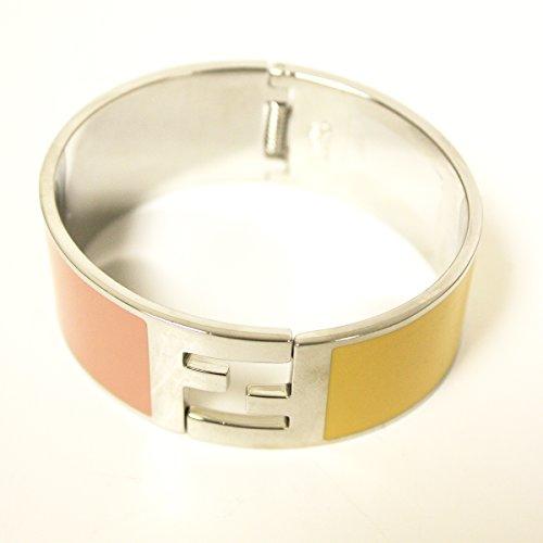 Fendi the Fendista Bangle Palladium Silver Enamel Pink & Yellow Cuff Bracelet by Fendi (Image #1)