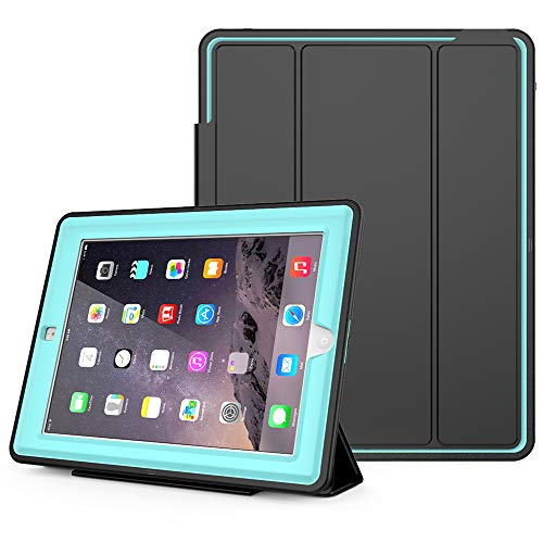 SEYMAC Stock iPad 2/3/ 4 Case, (Not for 5/6th or Mini), Heavy Duty 3 Layer Drop Proof, AUTO Sleep/Wake Protective Leather Stand Cover for iPad 4th Gen with Retina Display, iPad 3 & iPad 2 (Light Blue)