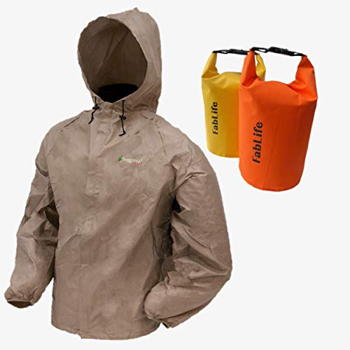 Frogg Toggs Oversized Ultra-Lite2 Breathable Rain Jacket for Rain, Golf, Boating, Cycling, Hiking, Kayaking or Bikers Bundled with 2 Floating Waterproof 5 Liter Roll Top Dry Bags