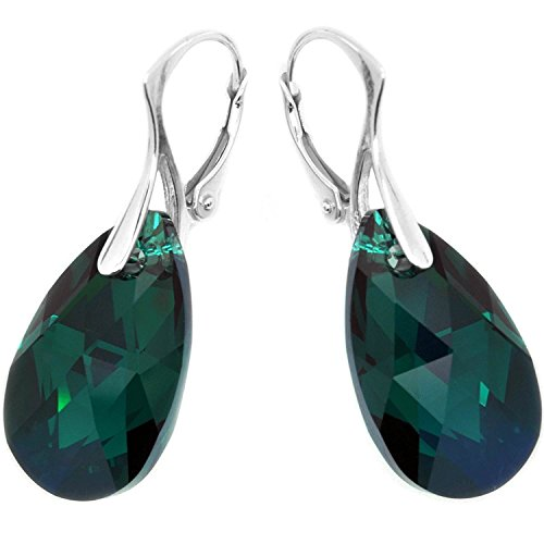 Swarovski Green Earring - Royal Crystals Sterling Silver Leverback Drop Earrings Made with Dark Green Swarovski Crystals