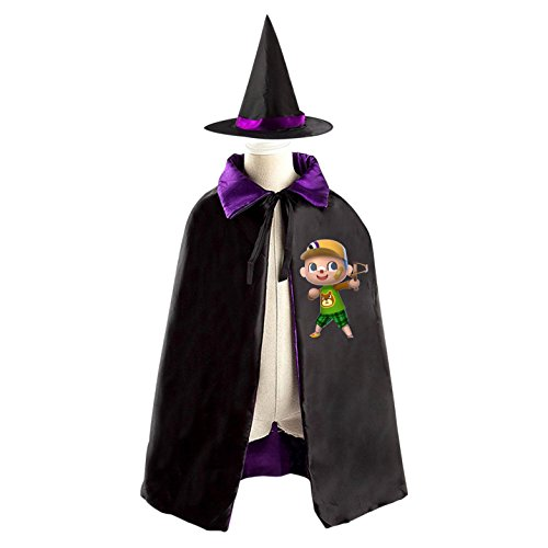 Villager Costume For Kids (Villager Boy Kids Halloween Party Costume Cloak Wizard Witch Cape With Hat)