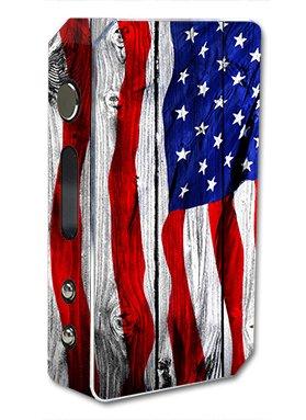 Skin Decal Vinyl Wrap for Pioneer 4 You ipv3 LI 165w watt Vape Mod Box / American Flag on Wood