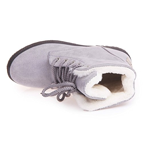 Lace up Grey Fleece Boots Suede Women's Platform Lined Xiakolaka Winter 5BYXzxw