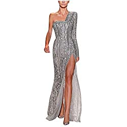 Women Sequin Cold One/Shoulder Long Dress