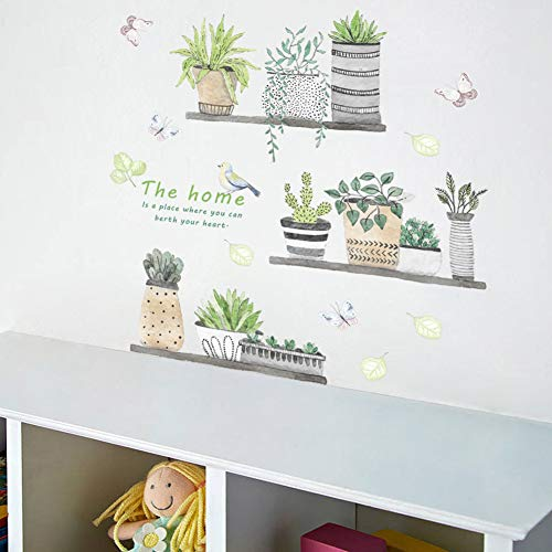 Green Plant Wall Decal Bonsai Flower Butterfly Cactus Wall Stickers DIY Mural Art Decoration for Living Room Bedroom… 4