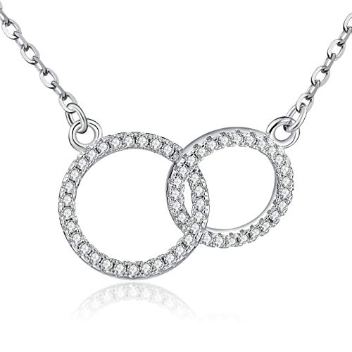 MIIBOO Mother Daughter Necklace/Friendship Necklace Sterling Silver with Luminous Cubic Zirconia, Mothers Day Gifts Set, Friendship Gifts for Women,Best Friend Necklace