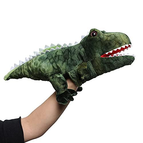 MUITEIUR 공룡 플레이크로 티라노사우루스 견면 벨벳에 의하여 채워지는 장난감으로 움직일 수 있는 입 큰 역할을 재생을 위한 선물 아이들(녹색 15 인치)