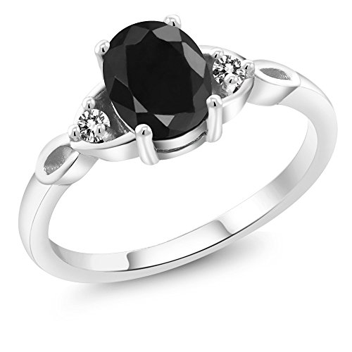 Sterling Silver Black Sapphire & White Diamond Women's Three Stone Ring 1.73 cttw (Size 8)