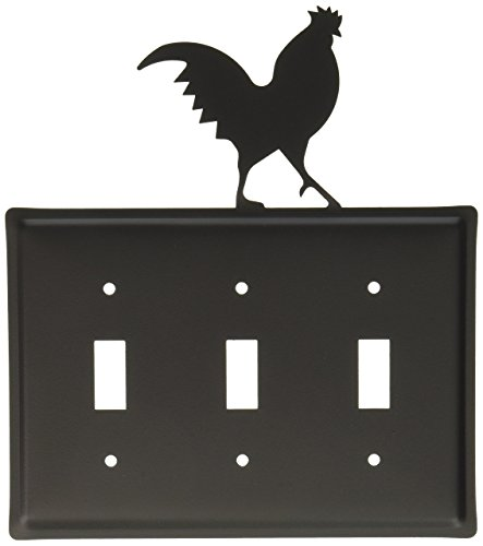 Village Wrought Iron Switchplate - 8 Inch Rooster Triple Switch Cover