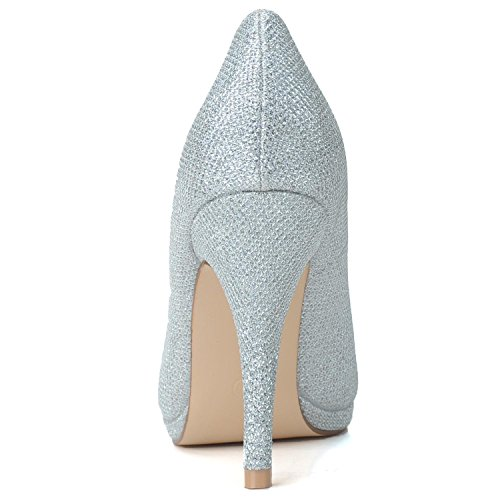 L@YC Frauen High Heel # 0255-24 Bridal Shoes Blinkende Leder zurück in der Nacht / spitz Plattform Yellow