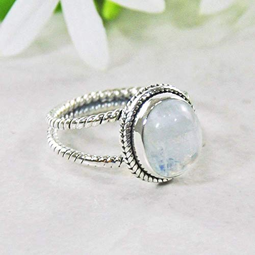 Sivalya Natural Rainbow Moonstone Ring in 925 Sterling Silver - Oval Moonstone Gemstone Split Shank Ring in Solid Silver with an Oxidized Finish - Size 9