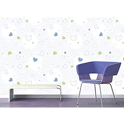 Pretty Design, Large Wall Mural Seamless Cat and Heart Pattern Vinyl Wallpaper Removable Decorating, That's 100% USA Made