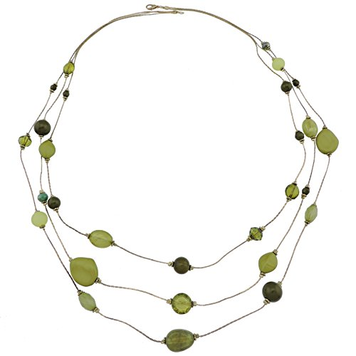 COIRIS 3 Layers Illusion Wire Long Statement Necklace For Women Green Beaded Sweater Chain (N0008)