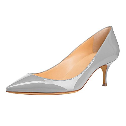 Office Gray Club Court Toe Closed Heels Kitten Women's Soireelady Party Pumps Shoes Dress w7AxOAzq