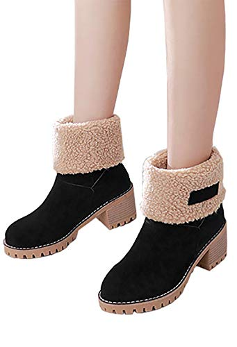 n Winter Snow Ankle Boots Faux Fur Chunky Block Heel Short Booties 6.5 M US Black ()