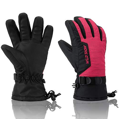 Ski Gloves, RunRRIn 100% Waterproof Winter Warm Snow Gloves for Mens, Womens, Ladies, Boys, Girls and Kids Skiing, Snowboarding(Black Red-M)