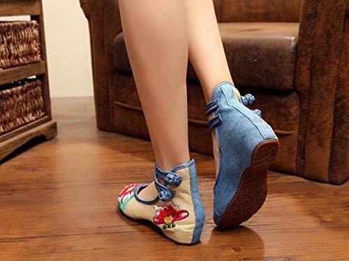 À Mode L'intérieur Bleu Brodées 40 Femme Ethnique De Hausse Fuxitoggo La Chaussures Semelle Décontracté Style Tendon Taille couleur Confortable zaqa07ZF